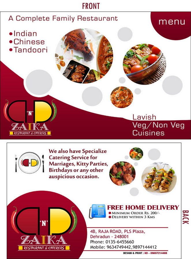 Zaika Restaurant Menu Card
